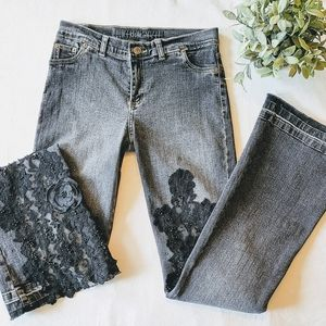 Celo flare bottom jeans with lace